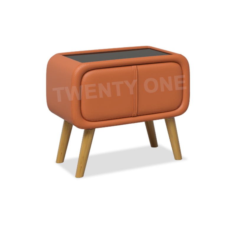 ASHER FAUX LEATHER BEDSIDE TABLE