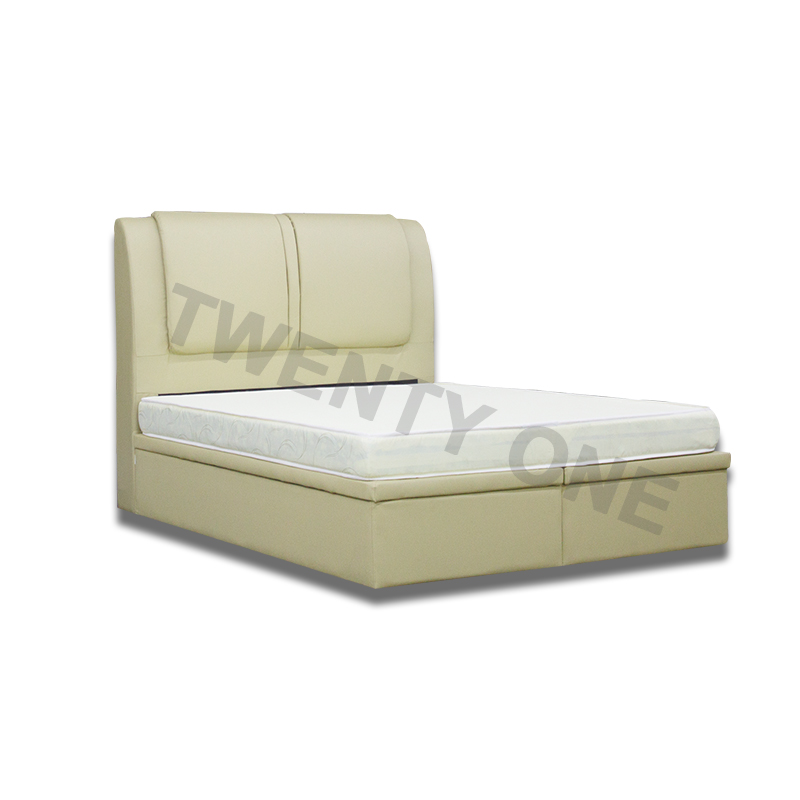 COASTAL FAUX LEATHER  STORAGE BED