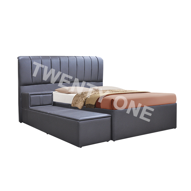 KELLY FAUX LEATHER PLATFORM STORAGE  BED