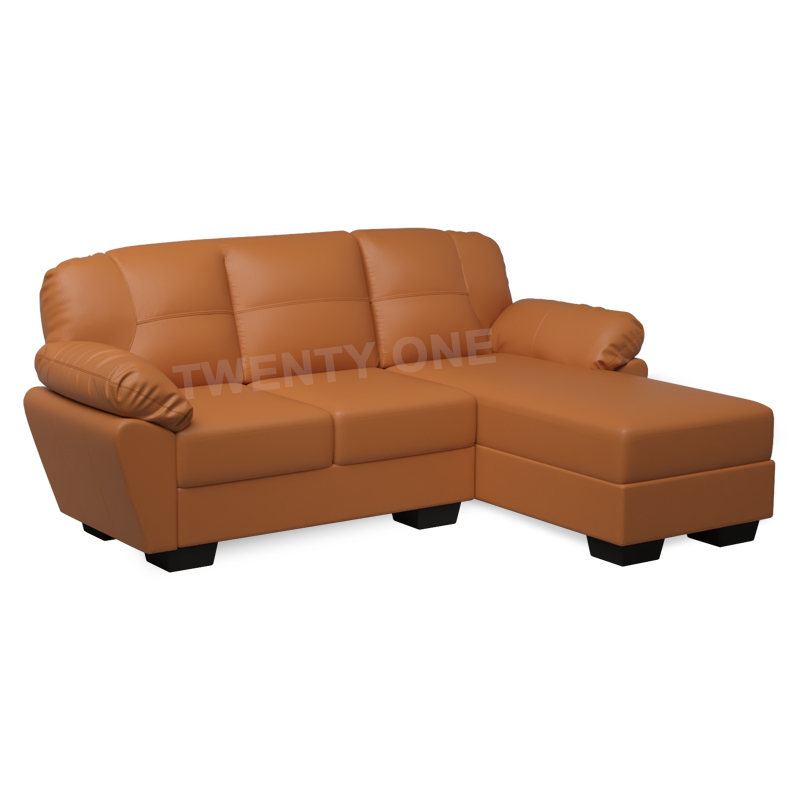 ALLIUM FAUX LEATHER SOFA WITH CHAISE