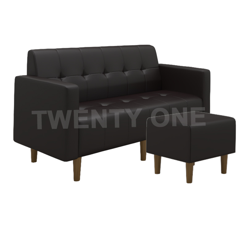 CAMERON FAUX LEATHER SEATER SOFA WITH STOOL MODEL 3