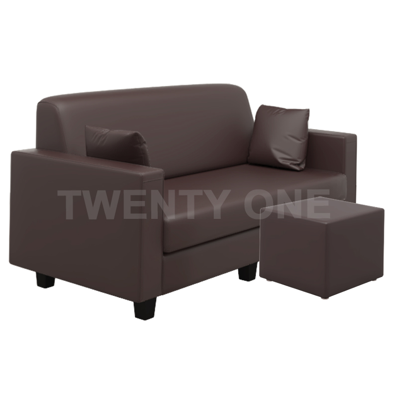 CARSON FAUX LEATHER SEATER SOFA WITH STOOL MODEL 2