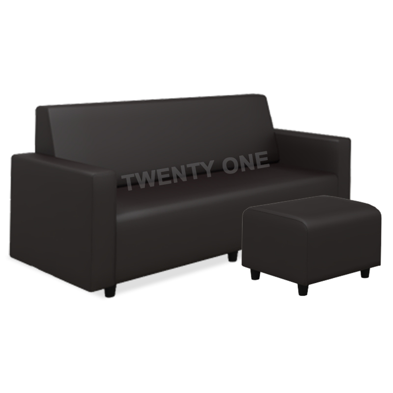 Faux Leather Sofa with Stool