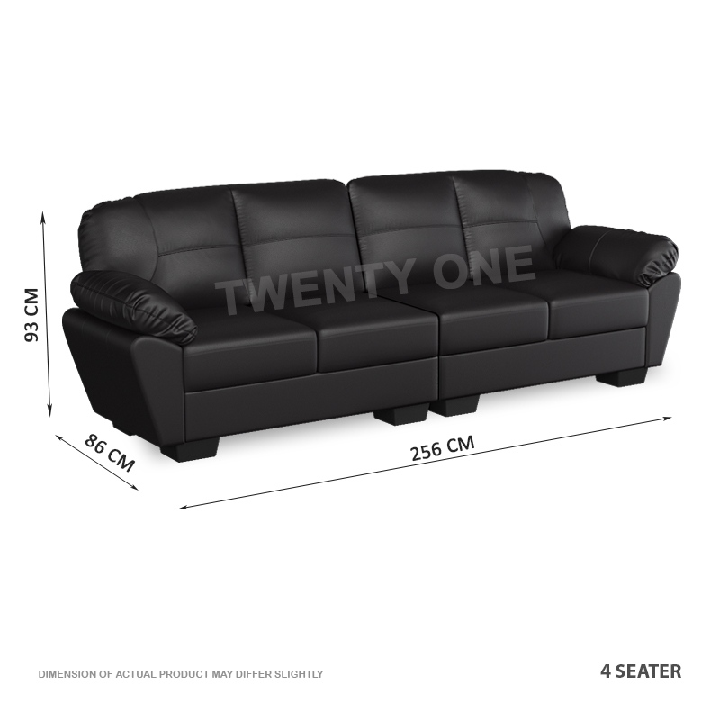 SKH N2425 ELGON 4 SEATER FAUX LEATHER SOFA 1B